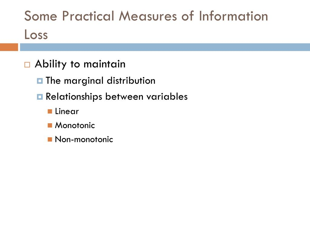 Some Practical Measures of Information Loss