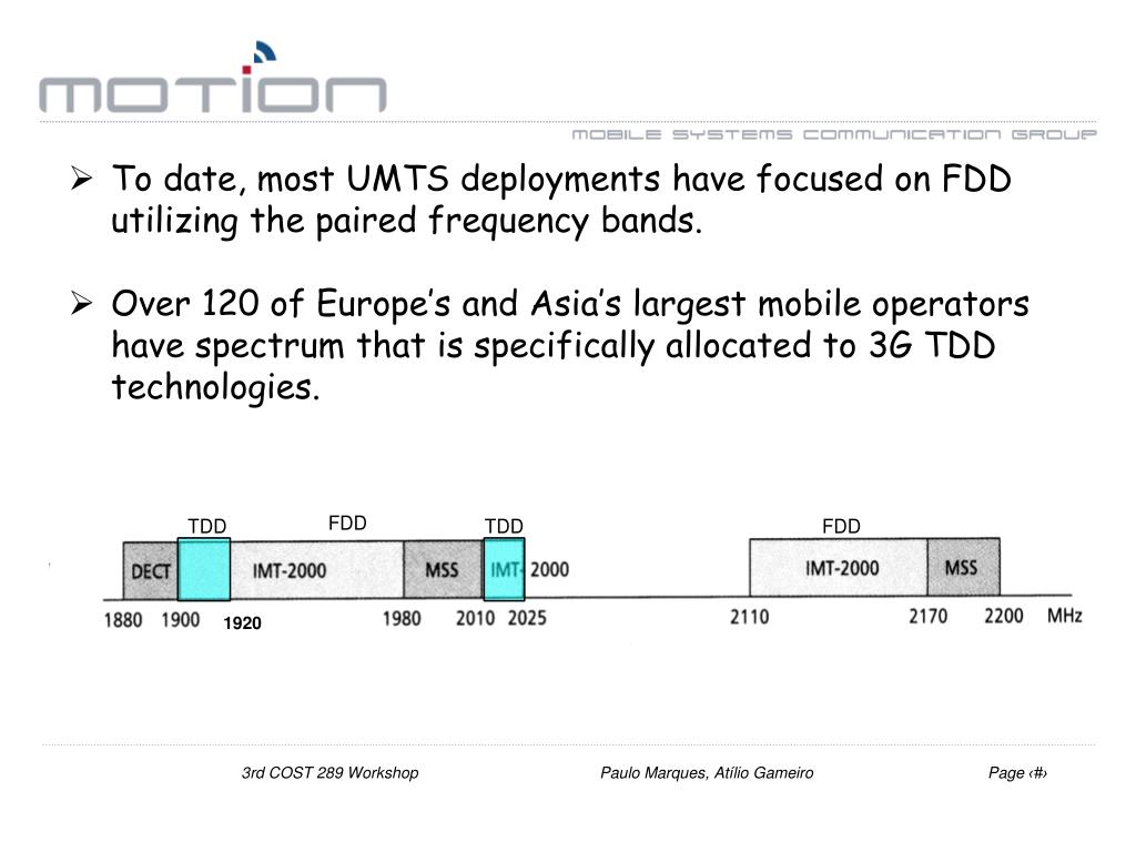 To date, most UMTS deployments have focused on FDD utilizing the paired frequency bands.