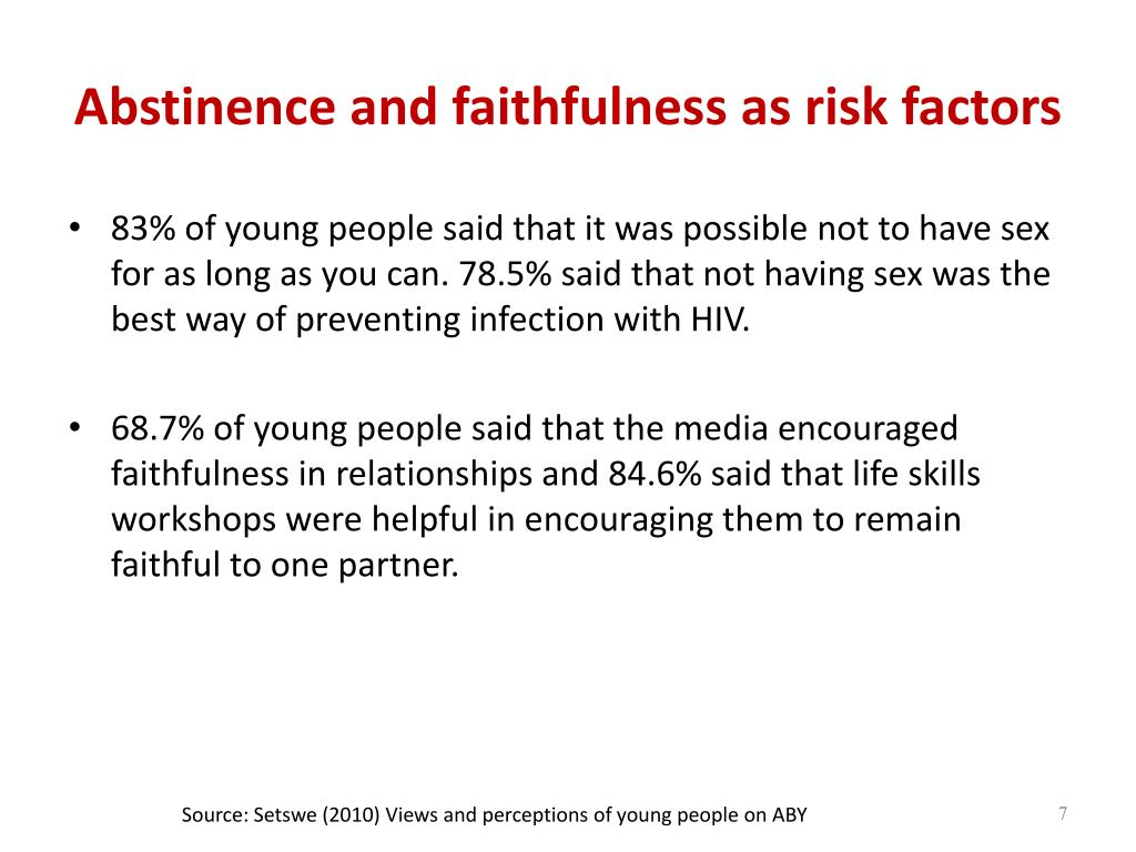Abstinence and faithfulness as risk factors