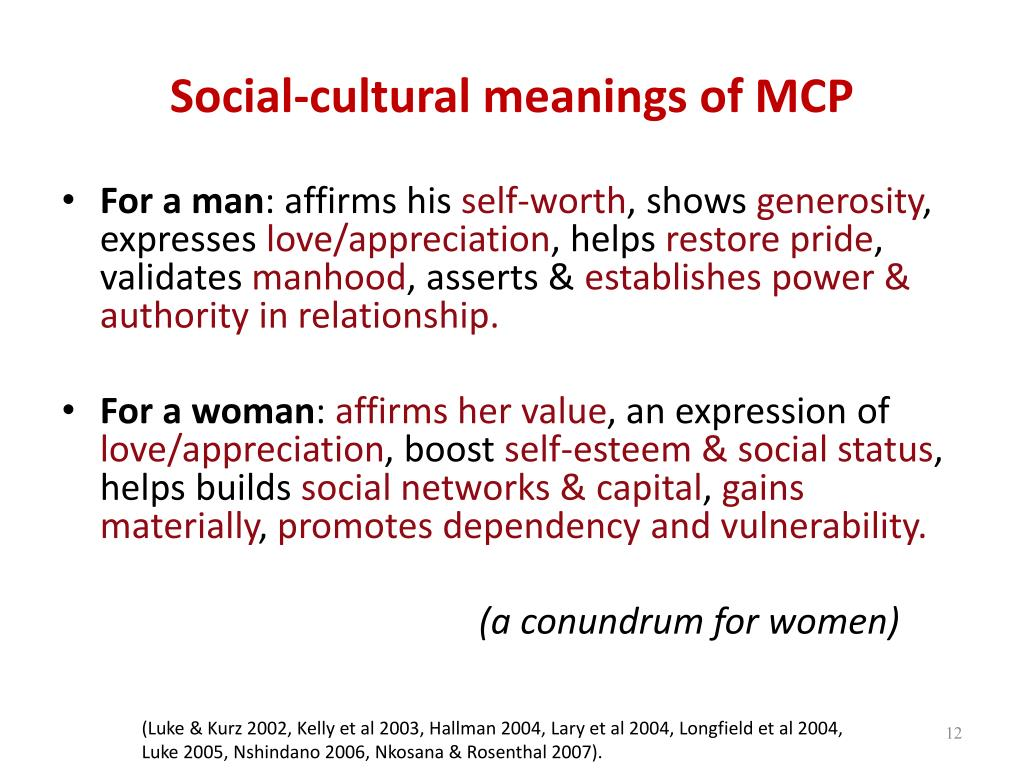 Social-cultural meanings of MCP