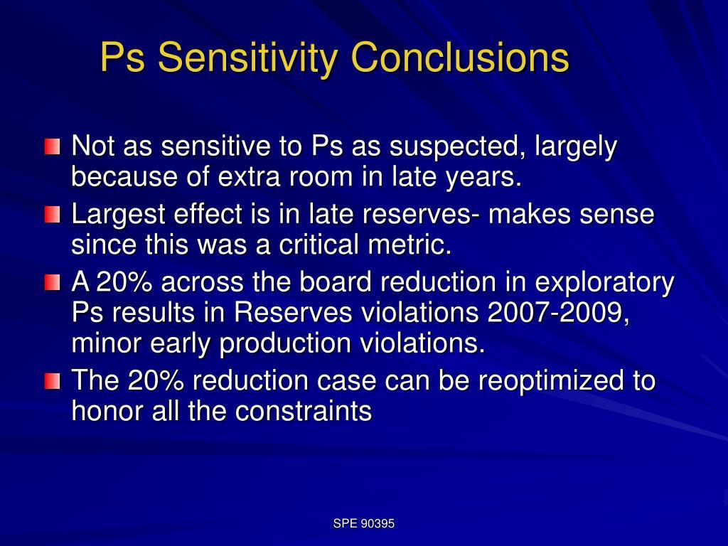 Ps Sensitivity Conclusions
