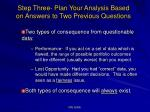 step three plan your analysis based on answers to two previous questions