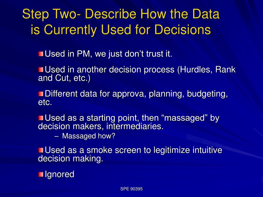 Step Two- Describe How the Data is Currently Used for Decisions