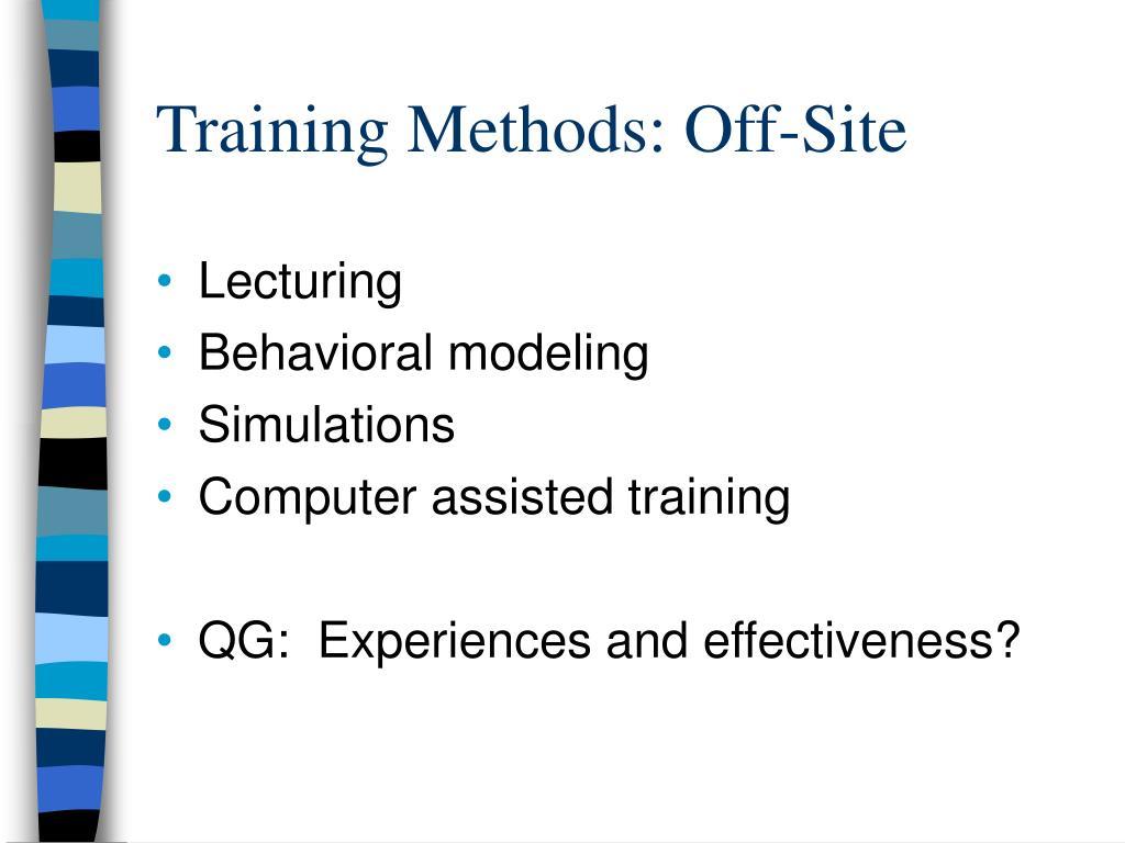 Training Methods: Off-Site