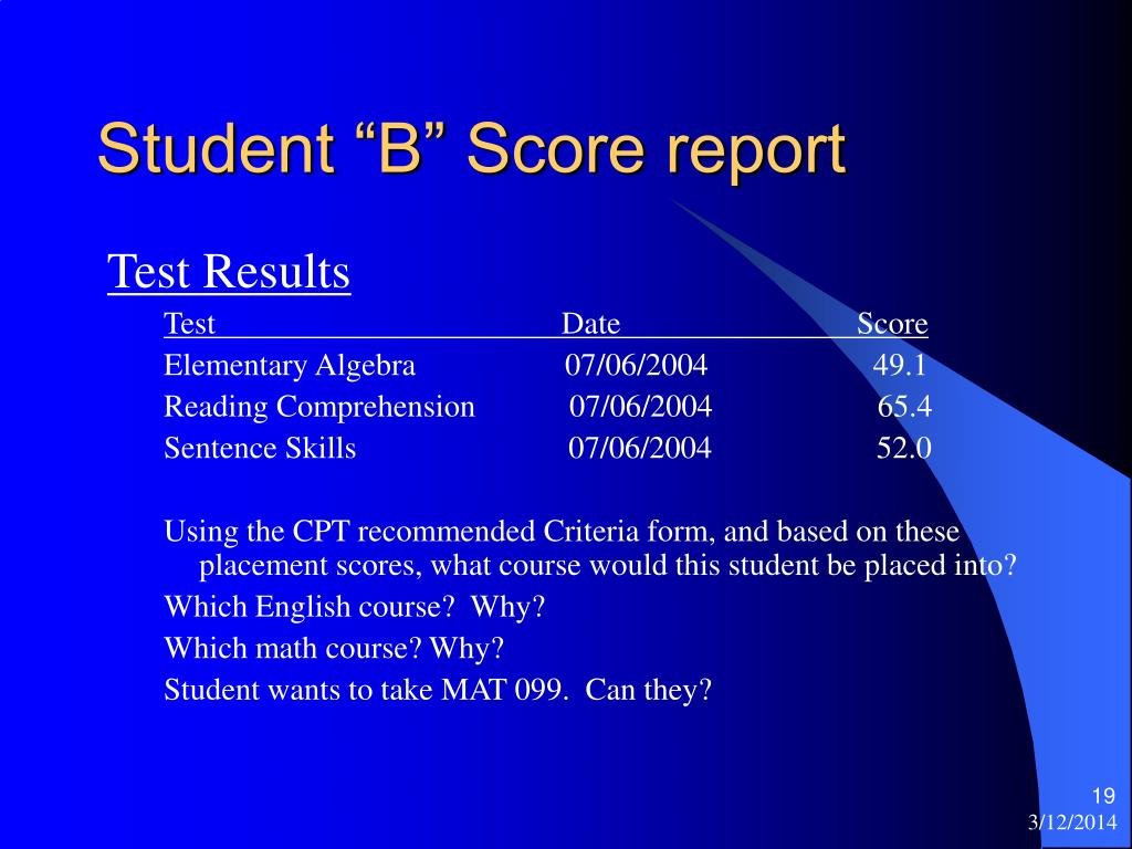 "Student ""B"" Score report"