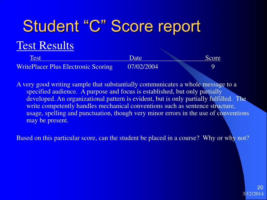 "Student ""C"" Score report"