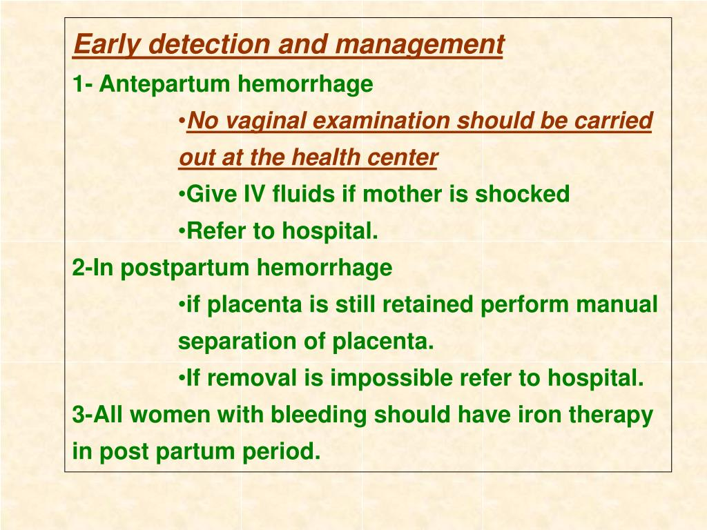 Early detection and management