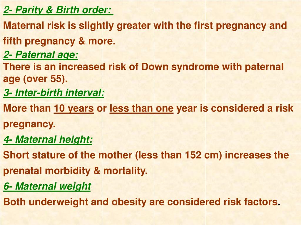 2- Parity & Birth order:
