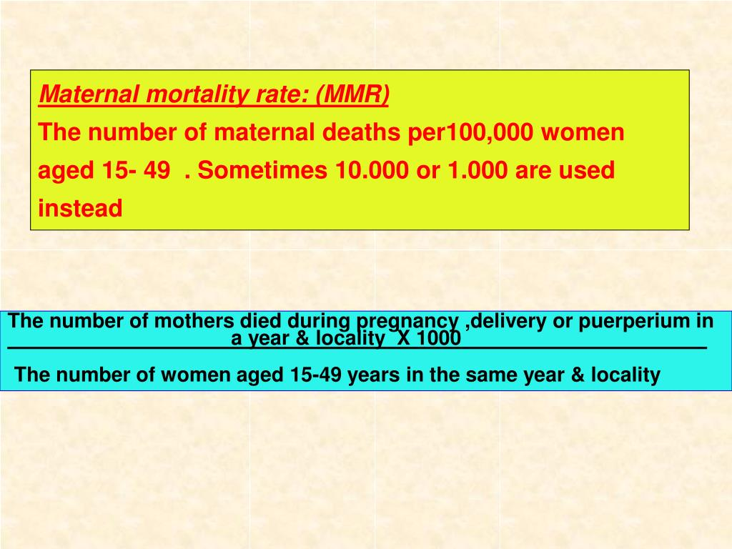 Maternal mortality rate: (MMR)