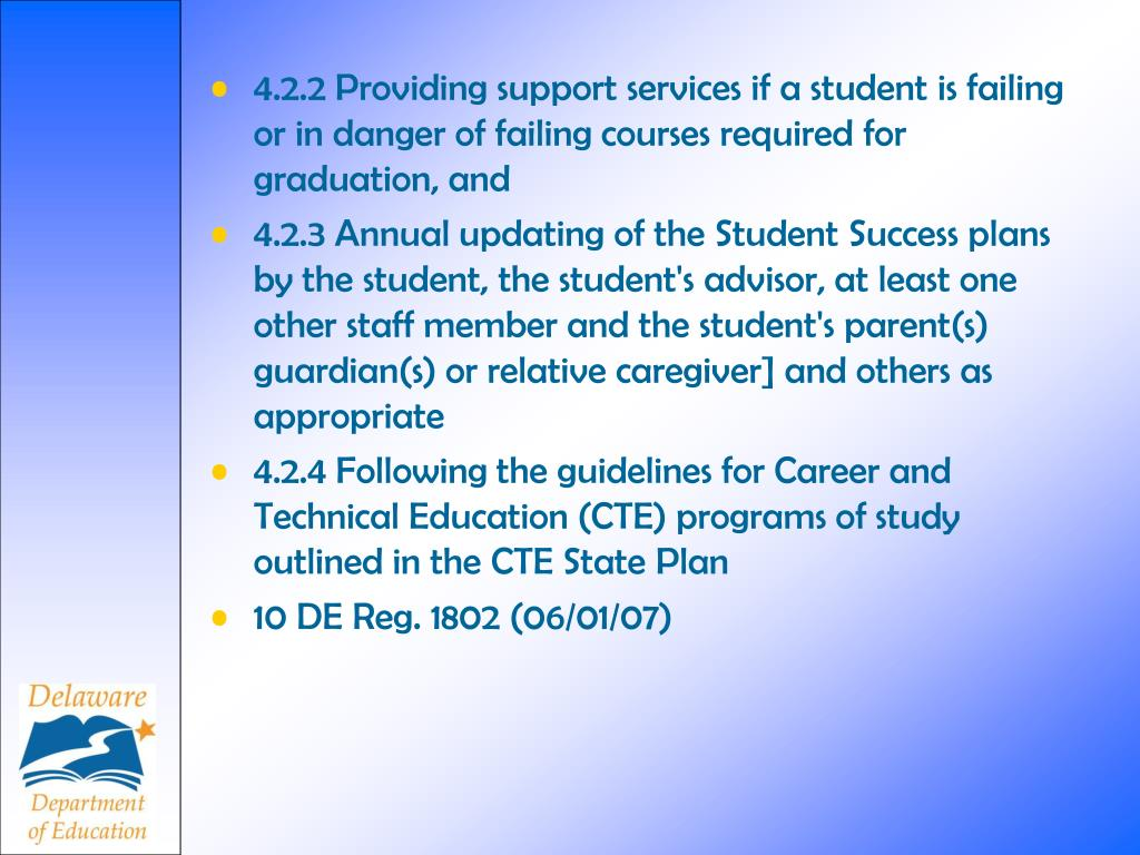 4.2.2 Providing support services if a student is failing or in danger of failing courses required for graduation, and