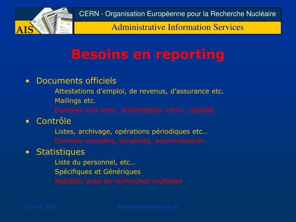 Besoins en reporting