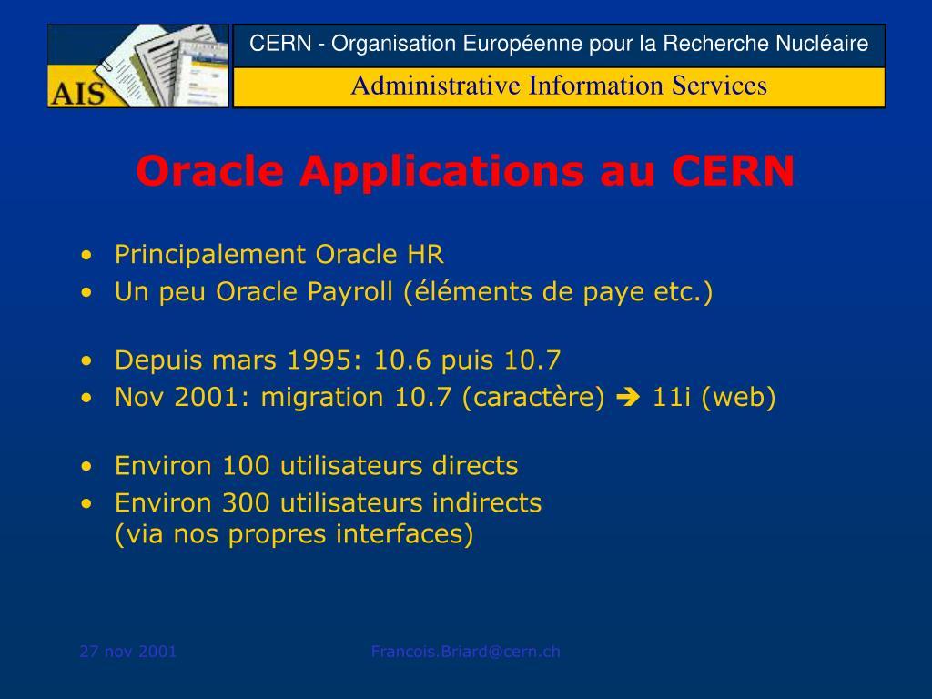 Oracle Applications au CERN