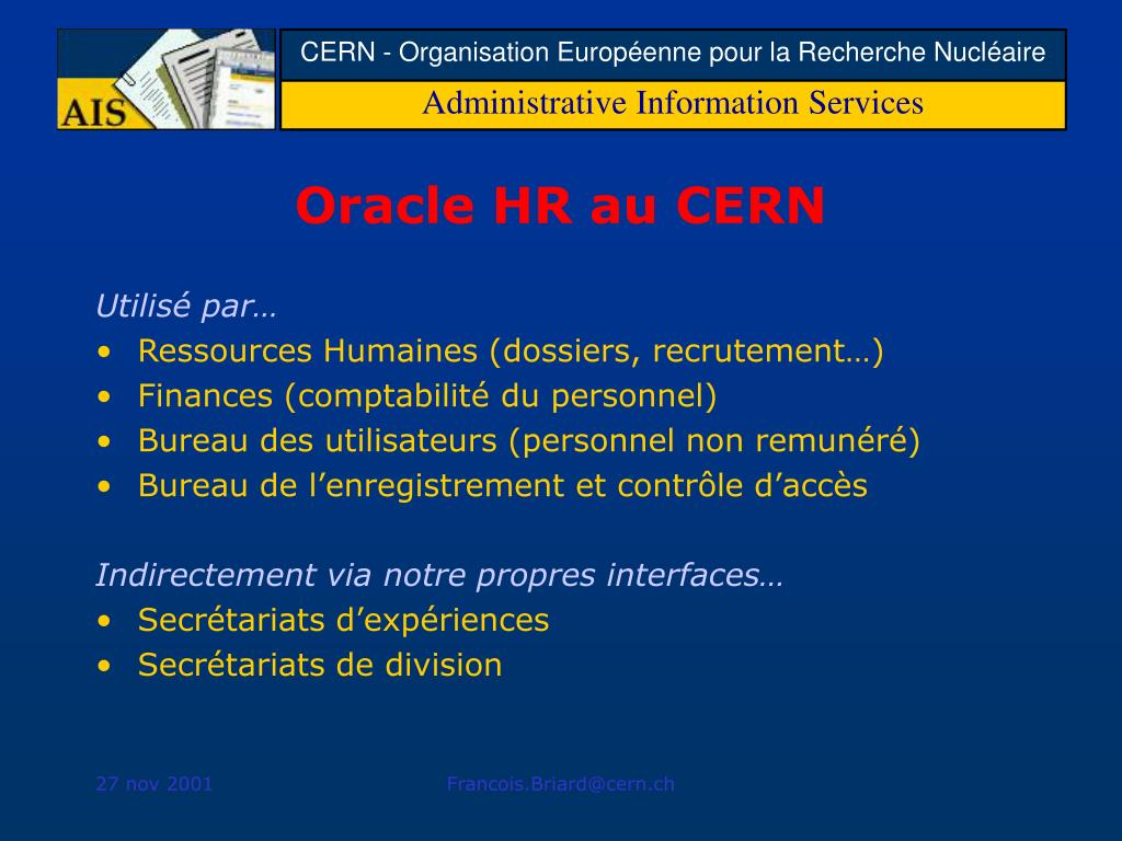 Oracle HR au CERN