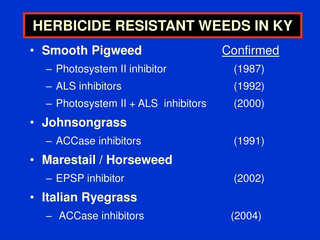 HERBICIDE RESISTANT WEEDS IN KY