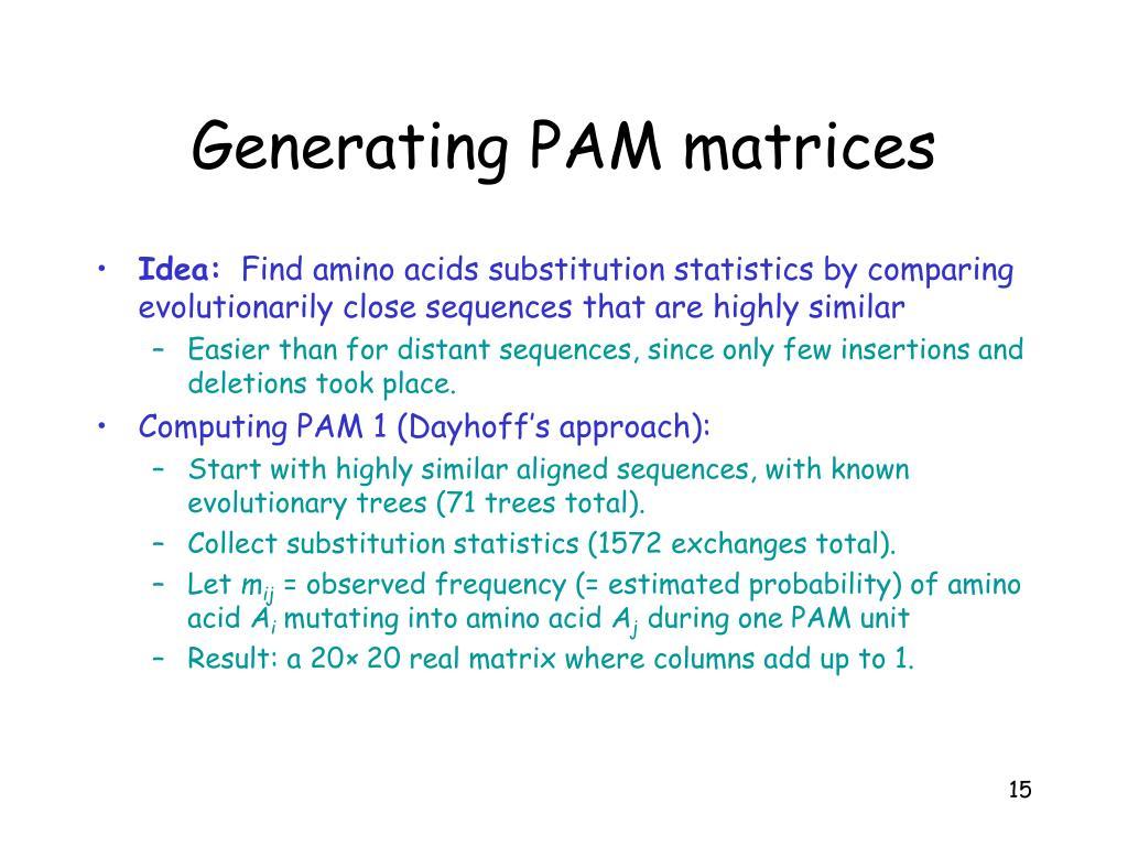 Generating PAM matrices