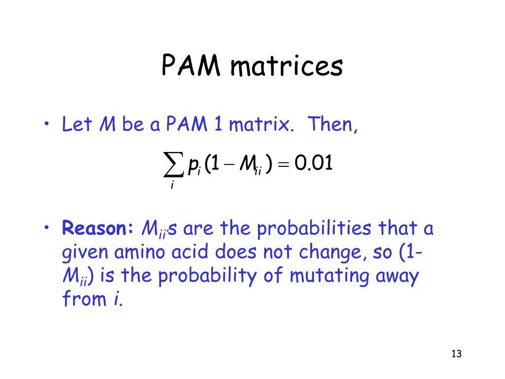 PAM matrices