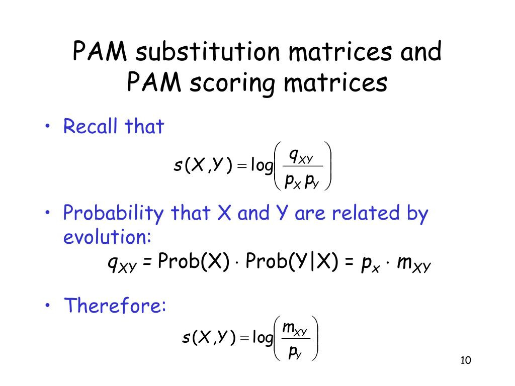 PAM substitution matrices and PAM scoring matrices