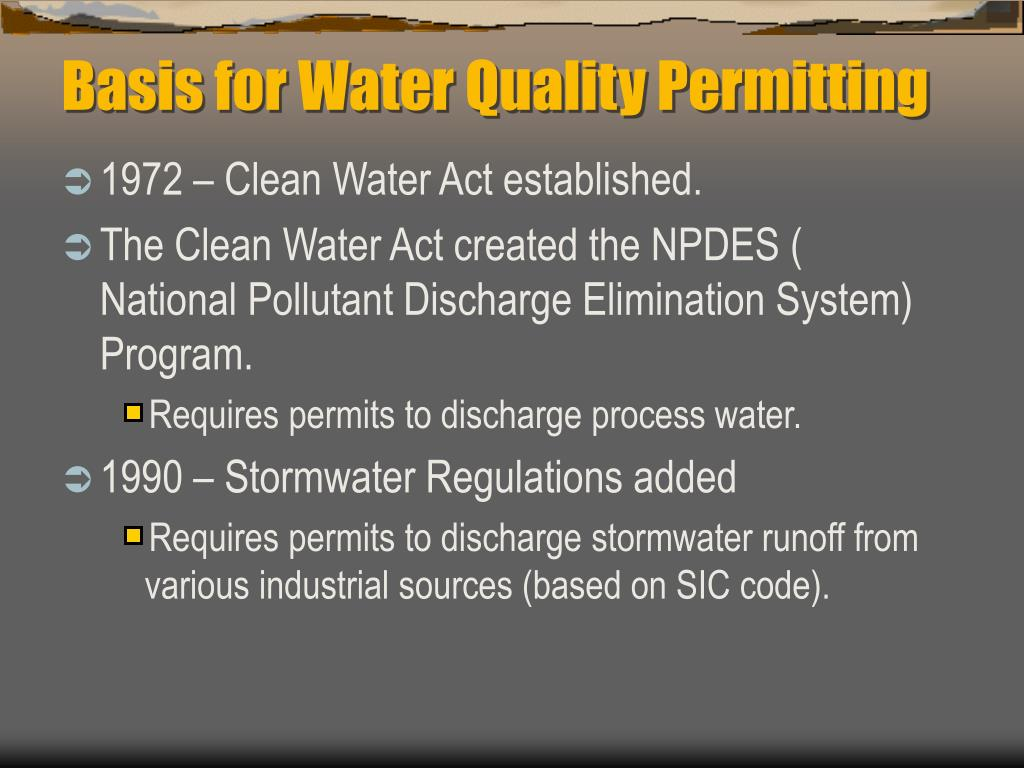 Basis for Water Quality Permitting