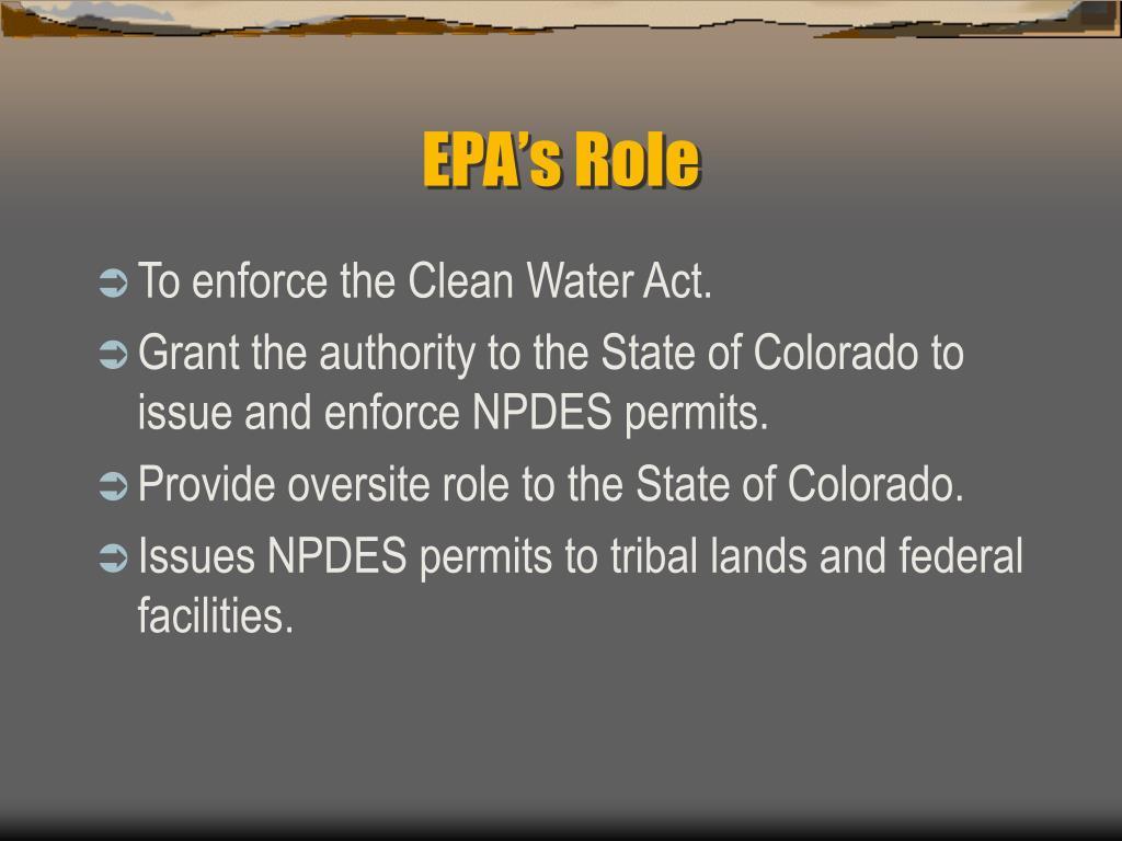EPA's Role