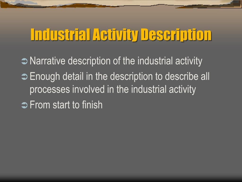 Industrial Activity Description