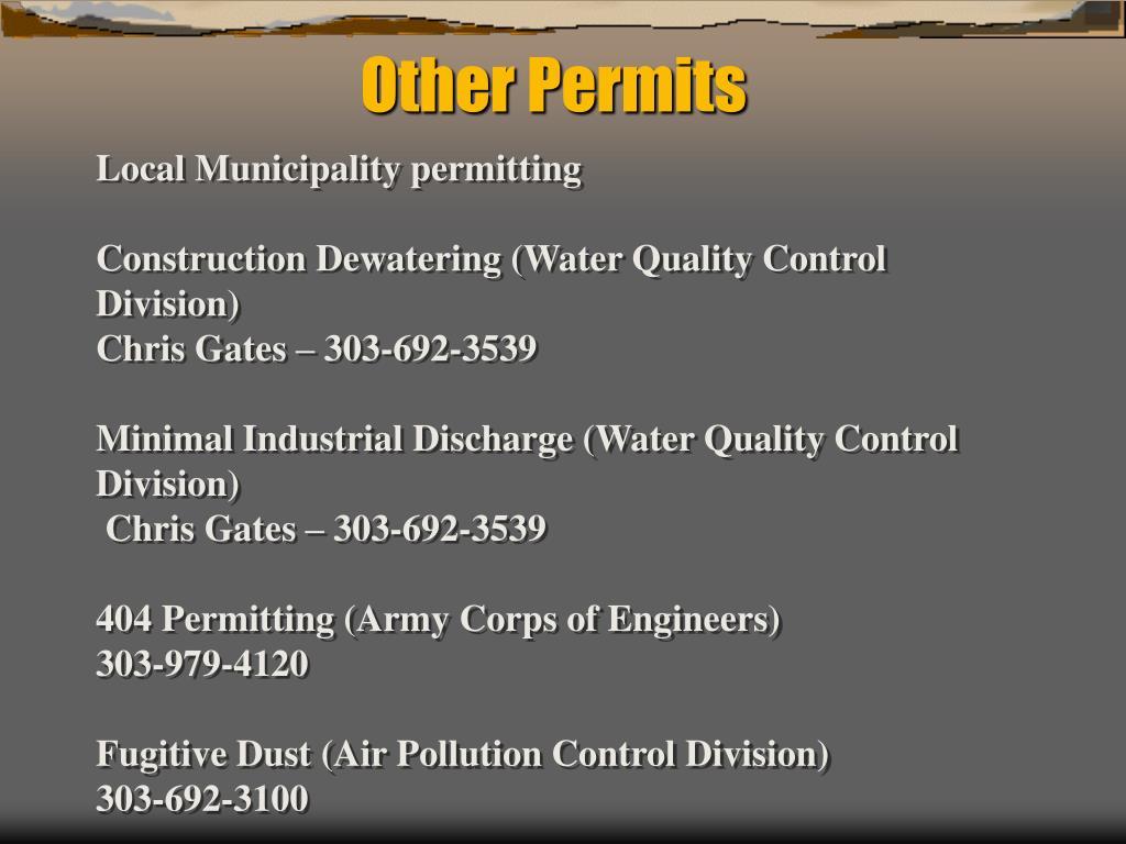 Local Municipality permitting