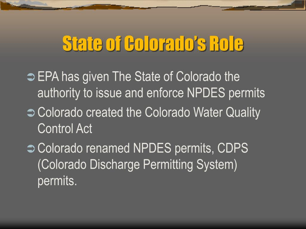 State of Colorado's Role