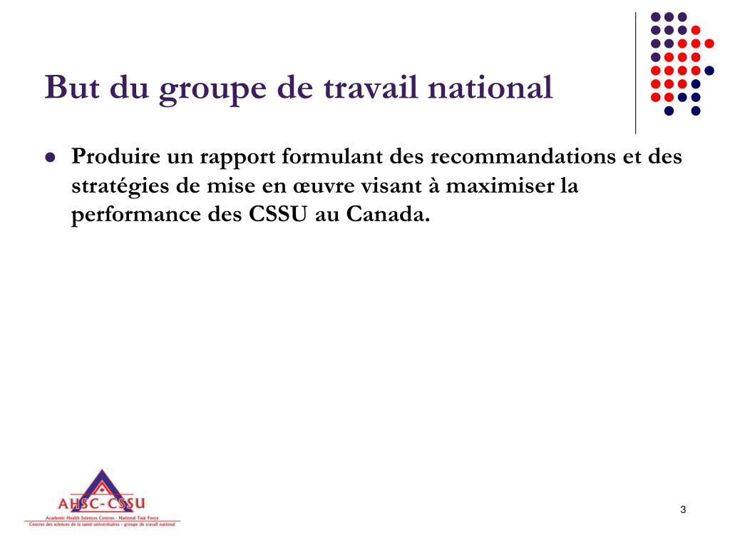 But du groupe de travail national