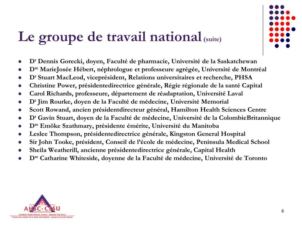 Le groupe de travail national