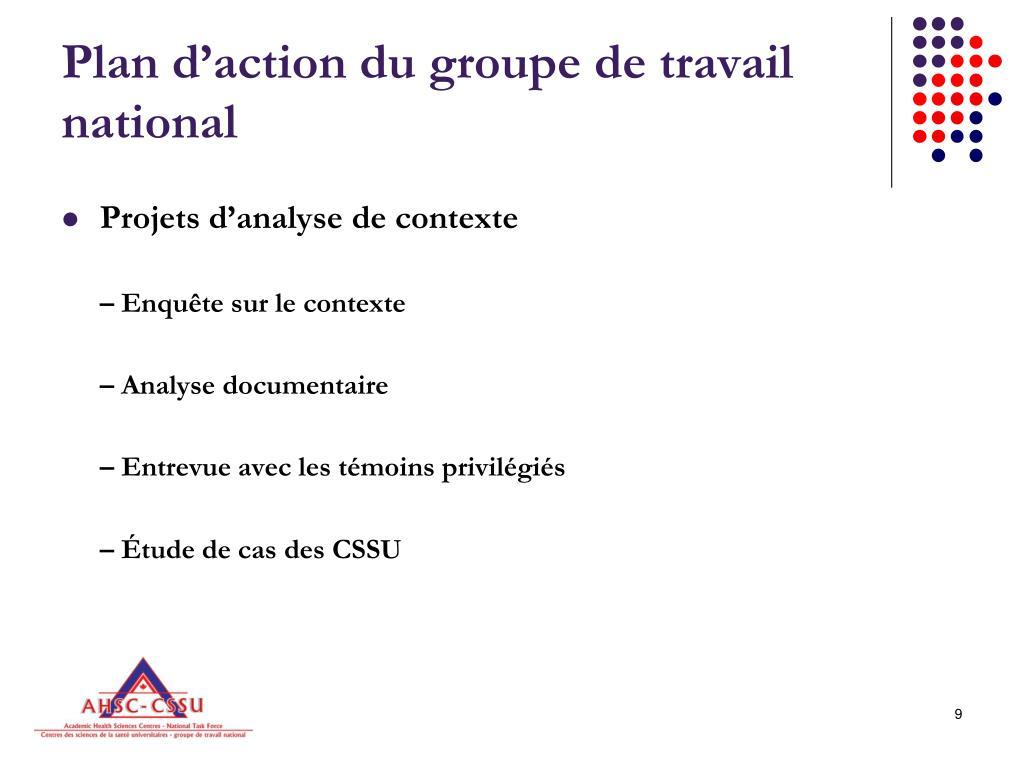 Plan d'action du groupe de travail national