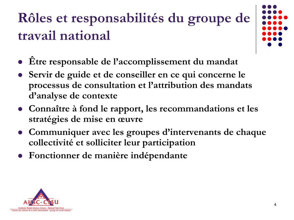 Rôles et responsabilités du groupe de travail national