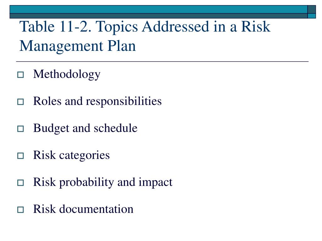 project risk management plan 2 essay The following material has been extracted from several project management plans the order in which it is presented is arbitrary the descriptions below should be.