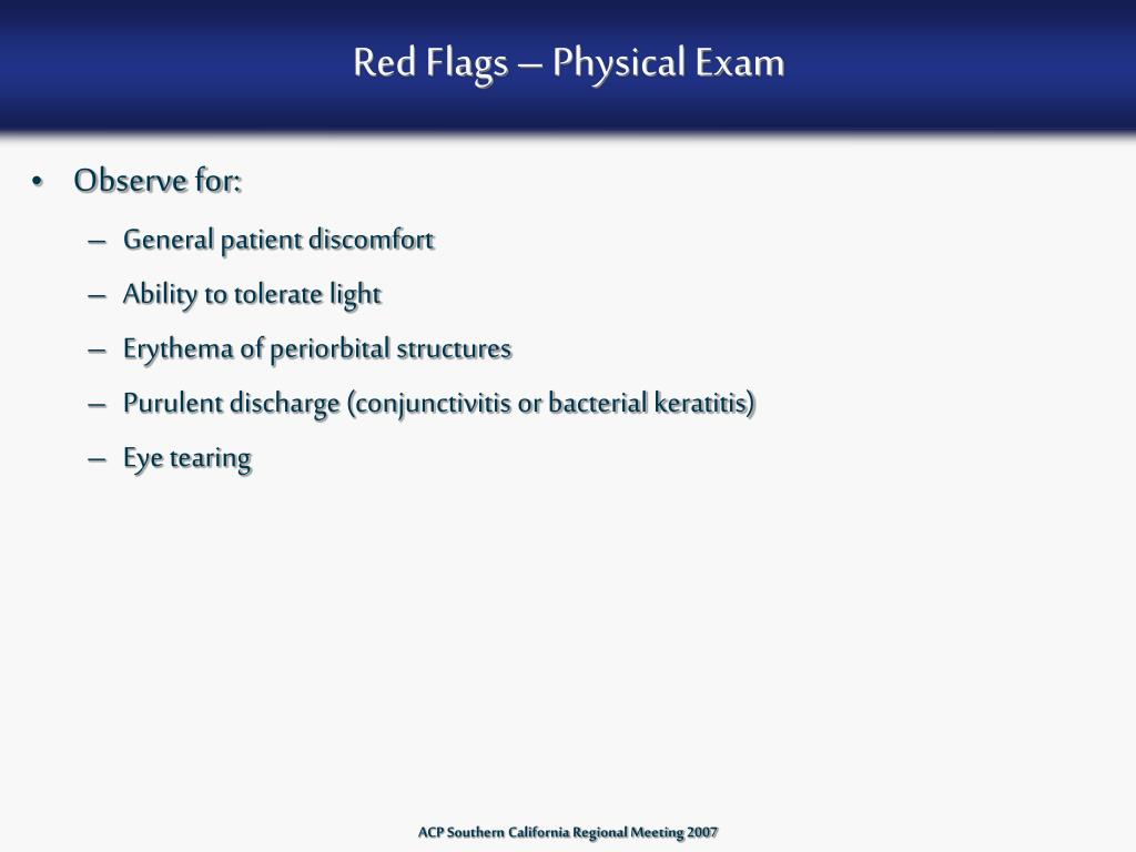 Red Flags – Physical Exam
