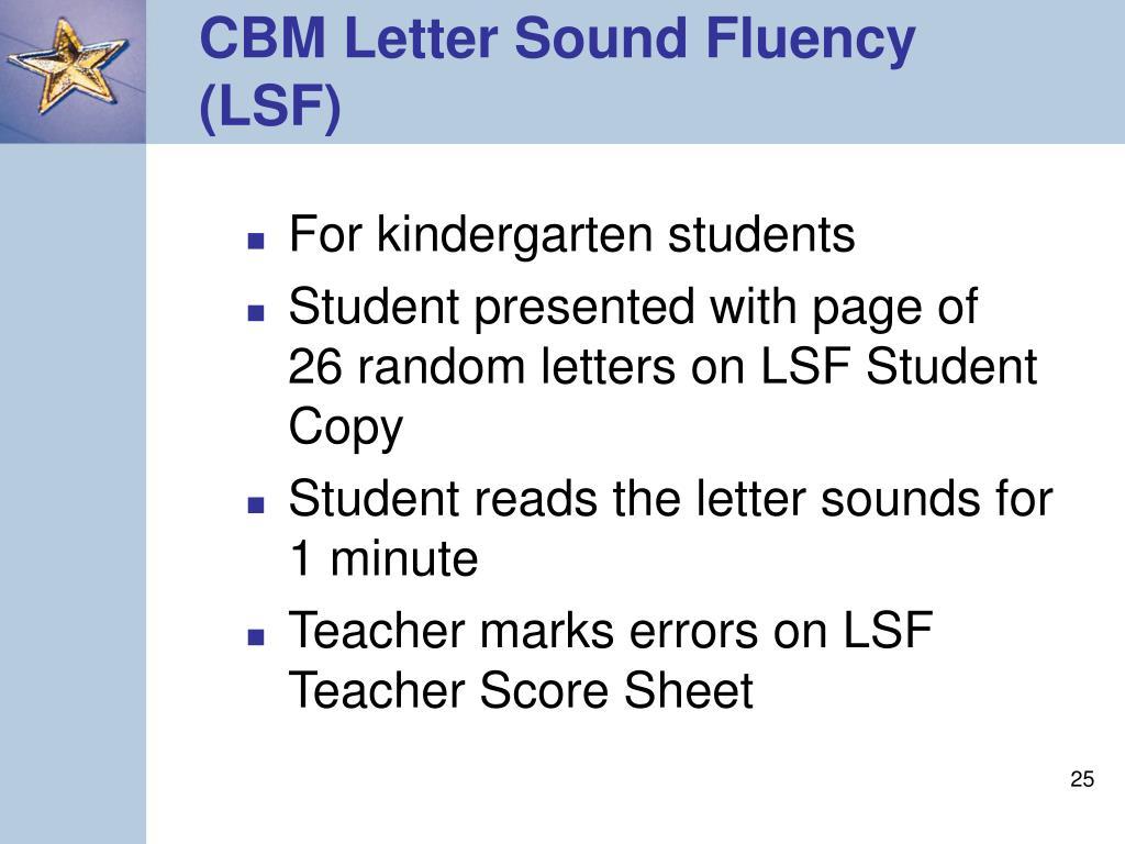CBM Letter Sound Fluency