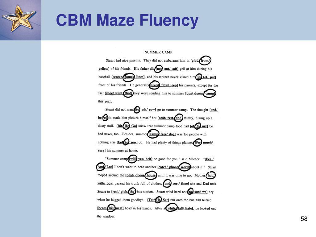 CBM Maze Fluency