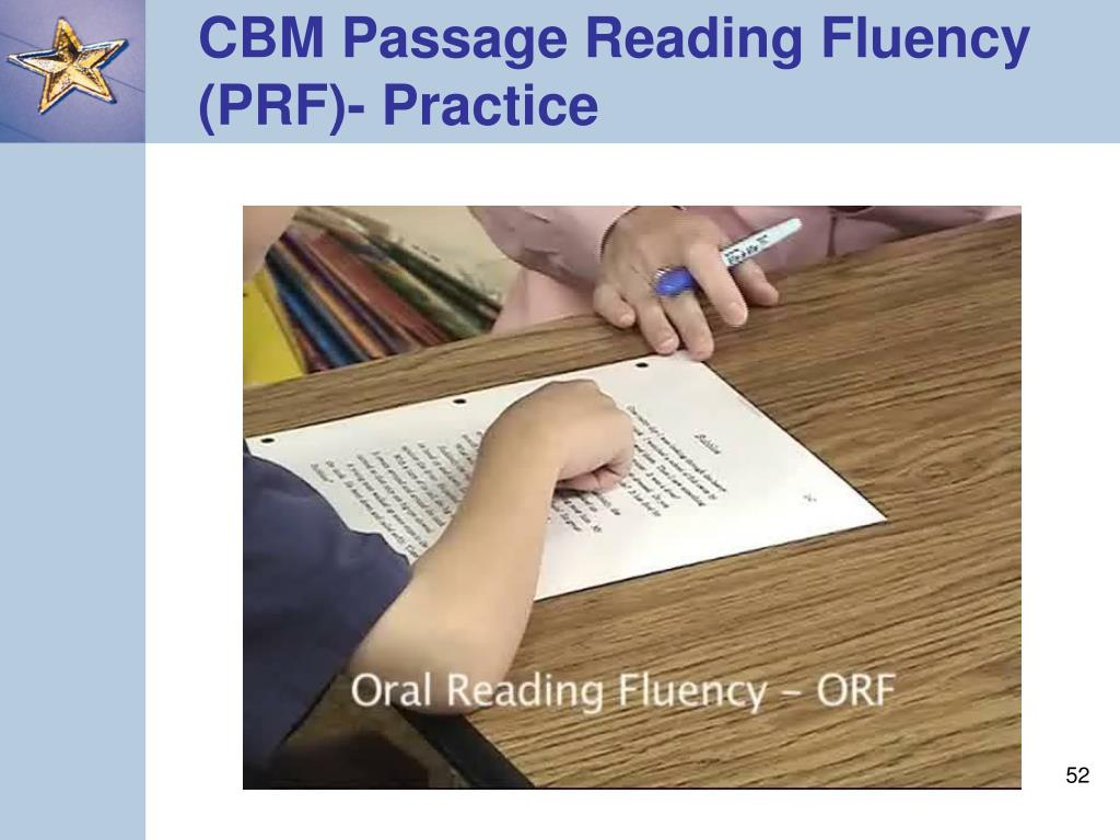 CBM Passage Reading Fluency (PRF)- Practice