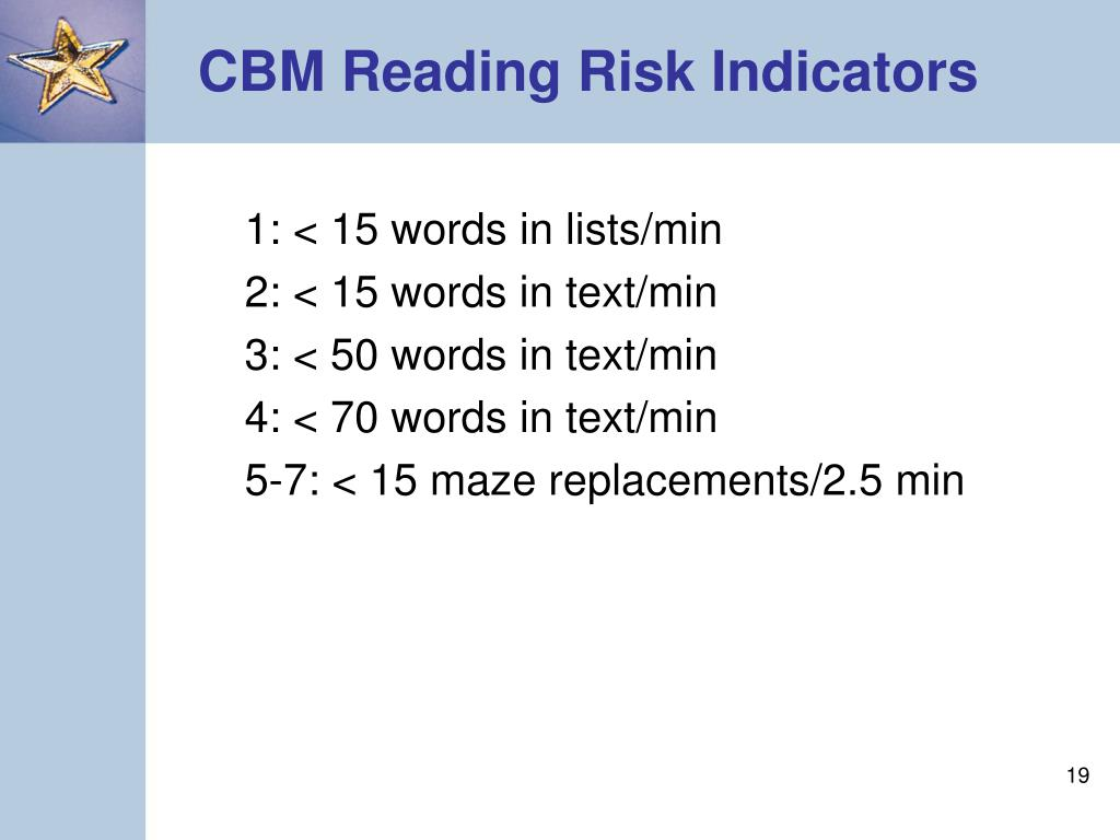 CBM Reading Risk Indicators