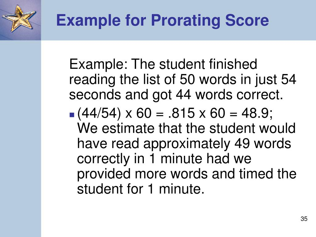 Example for Prorating Score