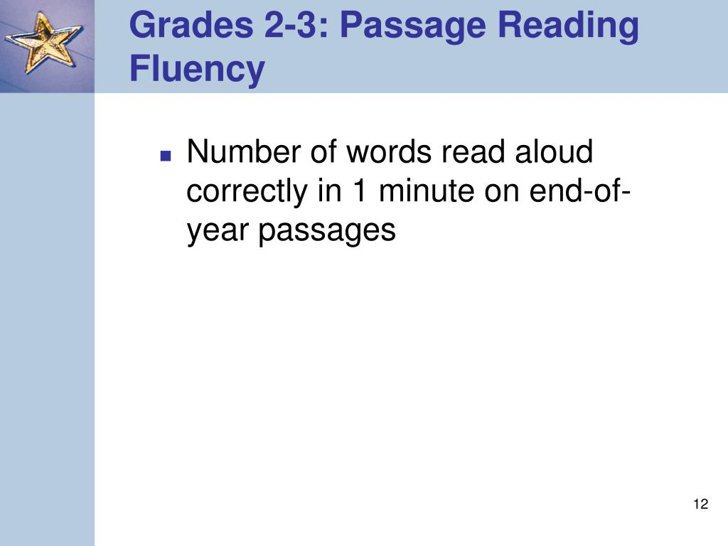 Grades 2-3: Passage Reading Fluency