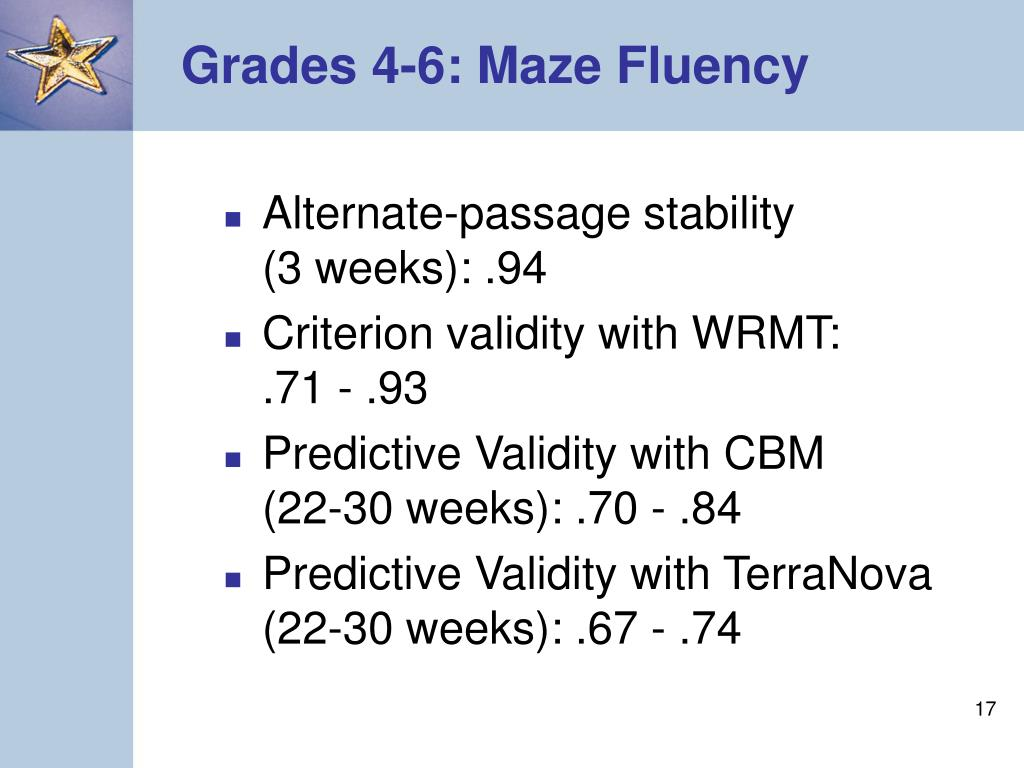Grades 4-6: Maze Fluency