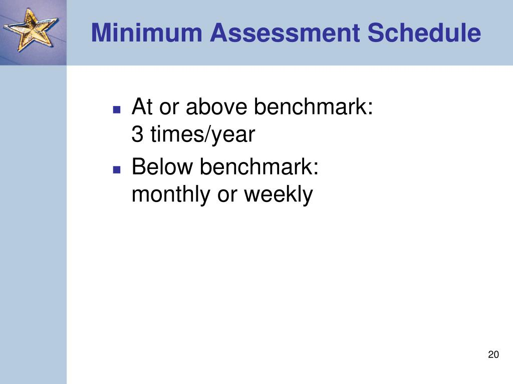 Minimum Assessment Schedule