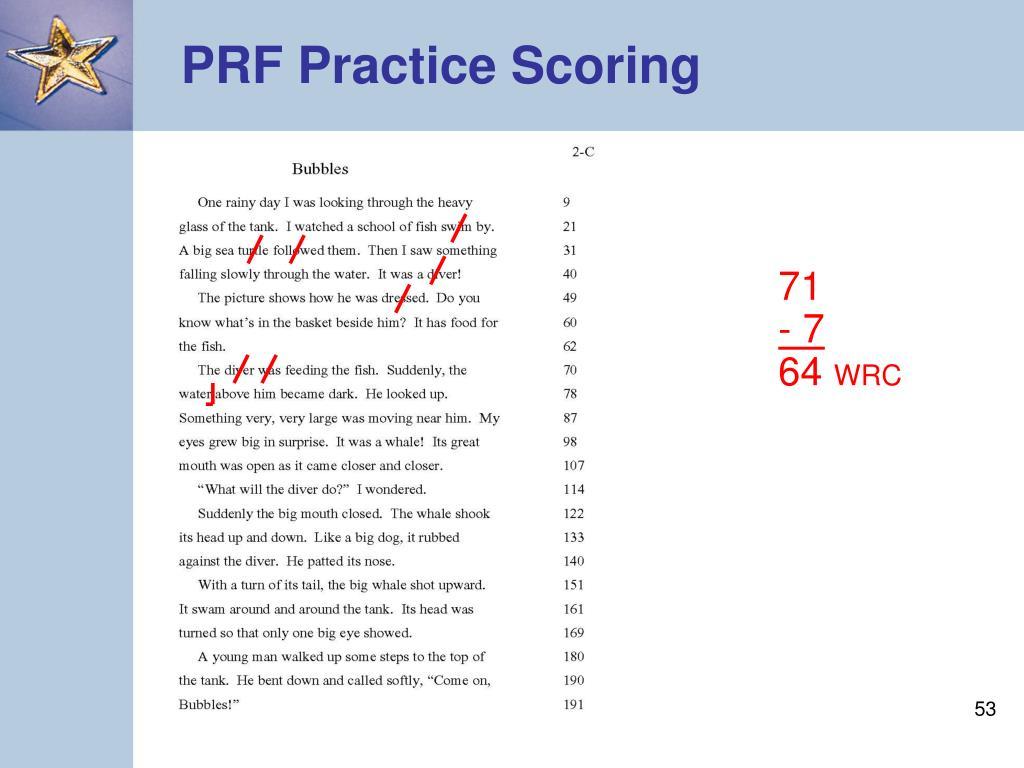 PRF Practice Scoring