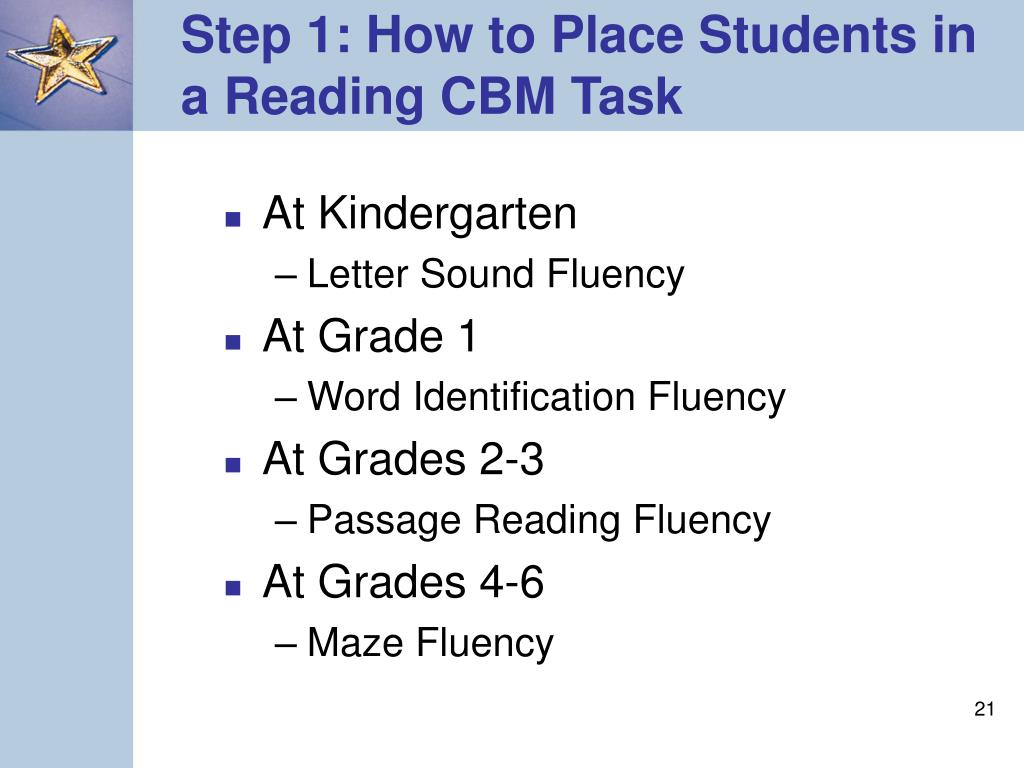 Step 1: How to Place Students in a Reading CBM Task