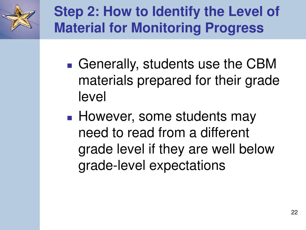 Step 2: How to Identify the Level of Material for Monitoring Progress