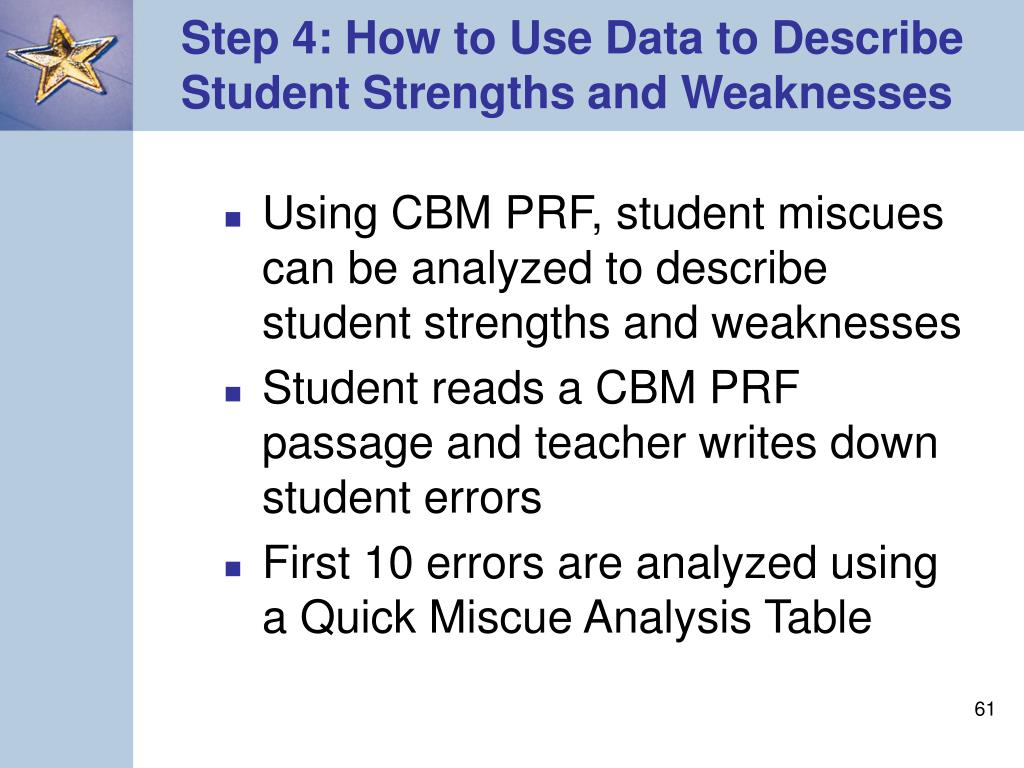 Step 4: How to Use Data to Describe Student Strengths and Weaknesses