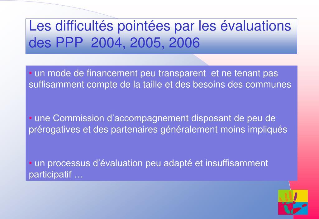 Les difficultés pointées par les évaluations des PPP  2004, 2005, 2006