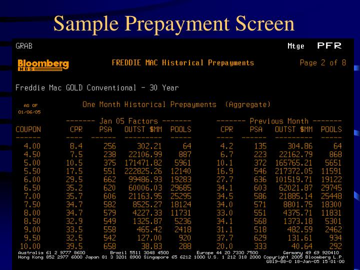 Sample prepayment screen
