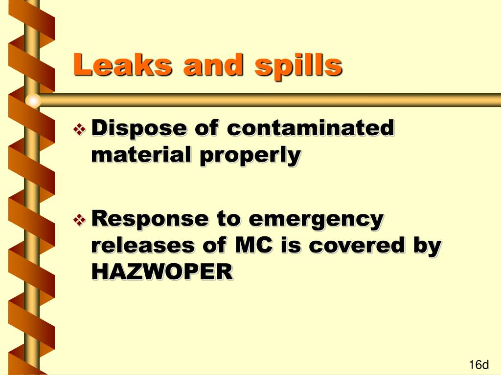 Leaks and spills