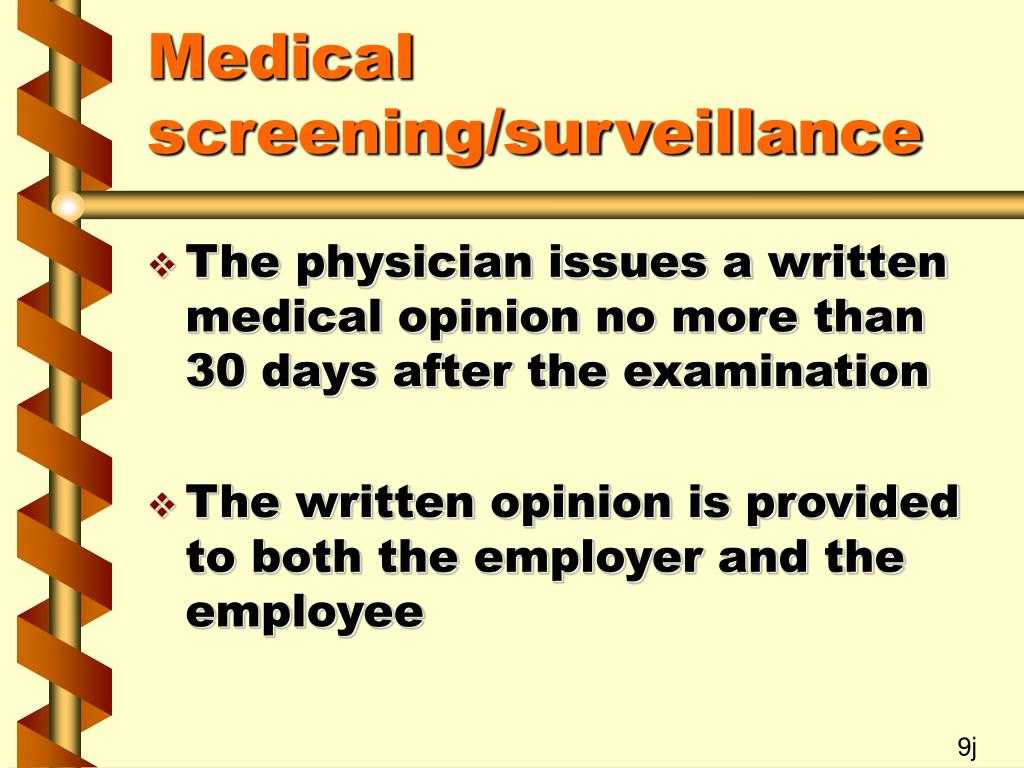Medical screening/surveillance