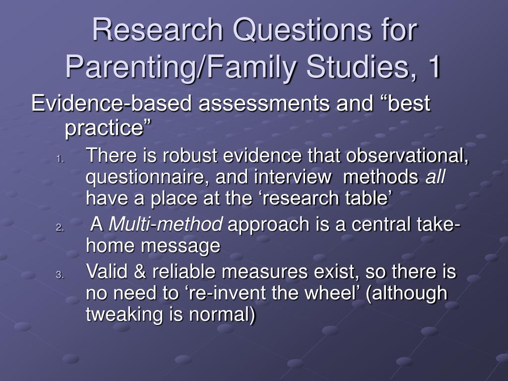 Research Questions for Parenting/Family Studies, 1