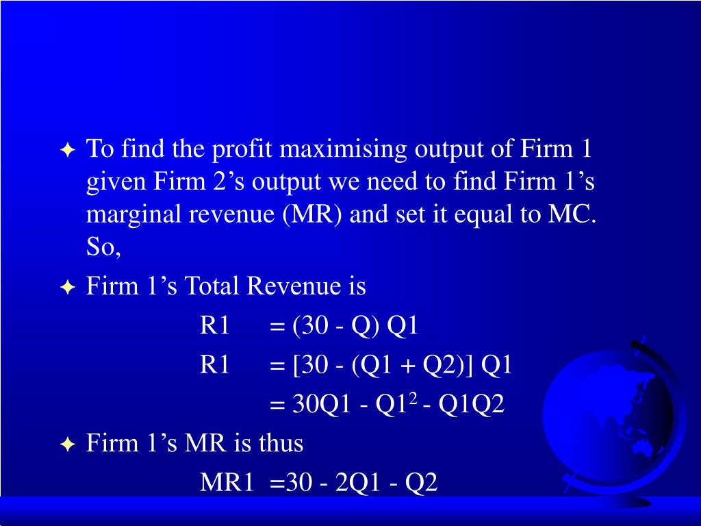 To find the profit maximising output of Firm 1 given Firm 2's output we need to find Firm 1's marginal revenue (MR) and set it equal to MC.  So,